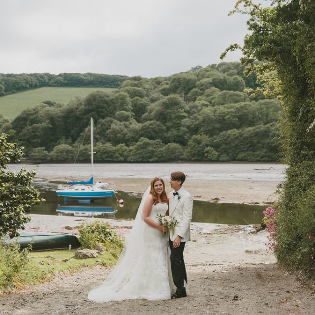 Bride and groom photo from the wedding style shoot at Fowey Hall Hotel, Cornwall.